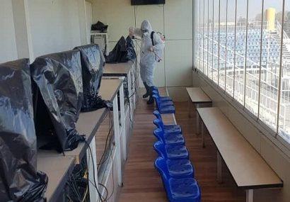رختکن های استادیوم محل بازی ماشینسازی – نساجی ضدعفونی شد