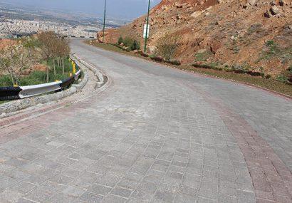 سنگفرش جاده اصلی و پارک ورودی تله کابین تفرجگاه عینالی مرمت شد