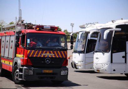 آتش سوزی اتوبوس مسافربری در پایانه تبریز مهار شد