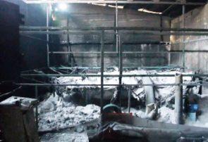 وقوع آتشسوزی در یک واحد تولیدی عجبشیر