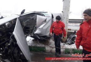 برخورد هفت دستگاه خودرو سواری در اتوبان پاسداران تبریز، ۳ مصدوم برجای گذاشت