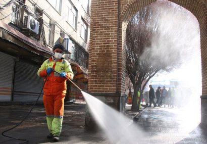 ضد عفونی پیادهروهای تبریز تداوم دارد
